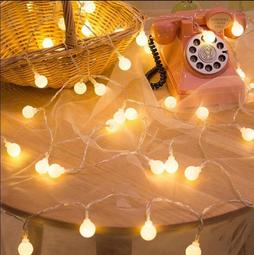 LED小燈泡彩燈閃燈串燈網紅燈 臥室房間少女心裝飾星星圓球燈10米100燈生日禮物