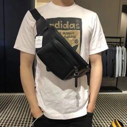 Coach蔻馳男包 新款PVC經典logo 真皮腰包胸包時尚單肩包 75776-240