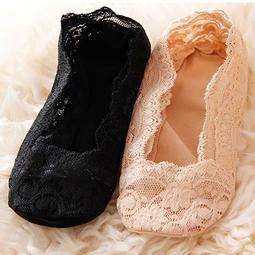 韓國 春夏季淺口蕾絲花邊船襪 矽膠防滑蕾絲船襪 膚色/黑色