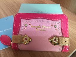 甯@全新真品 Samantha Thavasa 粉紅色 雙色拉鍊短夾 零錢包 ~附禮盒、提袋、保卡~日本購入
