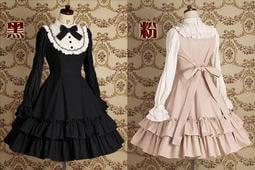 預定 lolita秋冬洋裝高貴經典氣質公主長袖荷葉洋裝 黑粉紅藍長袖連身裙Gothic日系公主甜美表演cosplay