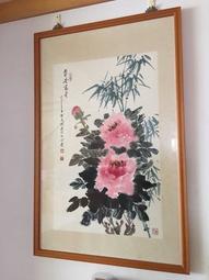 牡丹花「平安富貴」水墨畫