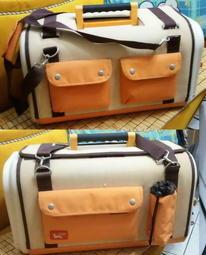 日本IRIS時尚鵝黃雙色布料外套 便捷家用外出 多功能手提/側背籠SHC-560貓狗 肩背/外出/運輸/旅行/航空 箱包