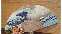 真絲印花女扇 絹扇 日本扇子日式折扇 浮世繪神奈川沖浪裏 真絲折扇 富士山
