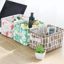 麻吉百貨cc-3874 35帶提手棉麻桌面雜物收納盒 櫥櫃收納籃 桌面盒 化妝品收納雜物盒