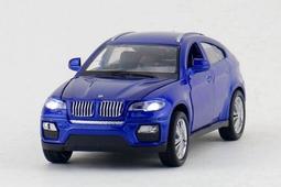 建元 合金車 汽車模型 兒童玩具 X6 BMW 聲光 四開門 藍
