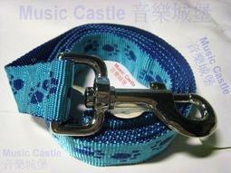 DAB 腳印牽繩 藍雙色 反光 小型至大型犬用 長113公分 寬2.5公分 免運費 {Music Castle 音樂城堡}