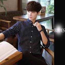 【Blues】MS101-時尚氣質5分袖修身短袖中袖條紋襯衫 日 韓 窄身 英倫 休閒