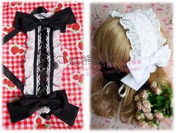 【貓熊繽雰】現貨 Lolita娘必備經典雙蝴蝶結髮帶 洋娃娃純棉蕾絲花邊百搭頭飾 白 可做黑粉紅多色 Gothic日系甜