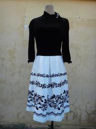楹 ~ 正品 日本製 M'S GRACY 黑色天鵝絨 花卉優雅洋裝 size: 38