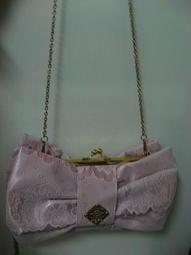 日本109品牌Honey Bunch白色花花蕾絲粉紫蝴蝶結金鏈包包(全新)