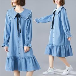 韓版新款中大碼女裝荷葉邊牛仔襯衫連身裙微胖mm顯瘦洋裝孕婦裝