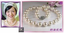 《晶彩飾界》施華洛世奇10mm水晶珍珠+角珠水晶項鍊、耳環套組~含禮盒包裝☆新秘飾品☆15色可選