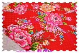 ☆HOME-DO☆貼棉布(鋪棉) 客家花布  PM131 大紅牡丹 純棉 拼布  寢具 袋物 環保袋 衣物 車棉布 素色