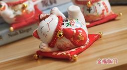 創意陶瓷家居擺件 書桌裝飾品 小招財貓 存錢罐儲蓄罐 汽車擺件-金福臨門