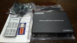 【真4K】 HDMI 2.0b版4進2出4x2矩陣切換四進二出分配器HDCP音頻分離HDR@60Hz帶光纖298一元起標
