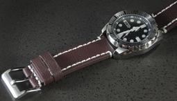 飛行軍錶風格直身22mm白色手工加粗縫線,細荔枝皮紋超軟真皮錶帶,雙錶圈seiko citizen pilot ~咖啡色