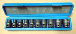 """三福特工~專業級 4分(1/2"""") 10~24mm 氣動短套筒,10件組 鉻鉬鋼材質 塑盒裝~台灣製"""