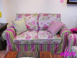 【肯萊柚木傢俱館】訂製款 優雅 英式古典 鄉村 進口布沙發 2人座 可訂色