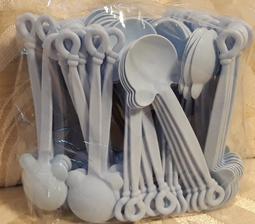 零售 一包10支賣22元  小熊湯匙 14cm 粉藍色 甜點湯匙 免洗湯匙 棉花糖藍 PP耐熱材質 另售同色叉子