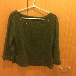 【飾次元】經典 時尚 甜美 大尺碼 L 墨綠色 長袖 上衣 金蔥 復古 耀眼