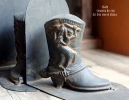 (生活體驗小舖)復古鑄鐵長靴造型書擋 書立書考 辦公書房家居 工業風鄉村風 送禮自用