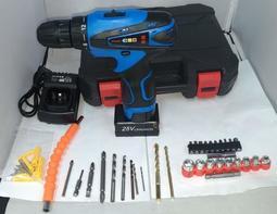 鋰電電鑽 富格25V 一電一充 附塑膠手提盒 鑽頭套筒組 雙速可正反轉/充電電鑽/電動起子/電動工具 保固半年