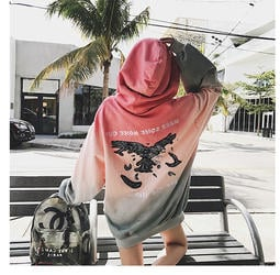 Color Fashion春秋季韓版漸層連帽T恤上衣一字領女裝連身裙大學T恤 G825122正韓洋裝
