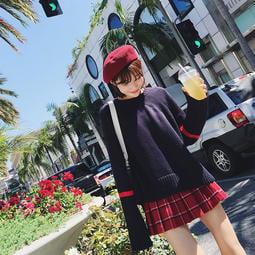 Japan style日式少女時尚不規則針織學院風小個子MM顯高寬鬆顯瘦圓領寬鬆長袖毛衣打底衫-<辣の衣櫥>獨家訂製款