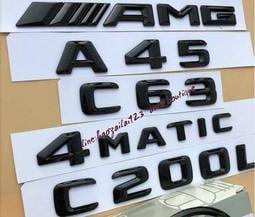 原廠Benz賓士字標後尾箱標誌CLA45 C63 E63 C43 CLS63 AMG改裝亮黑色字標後尾標車貼標