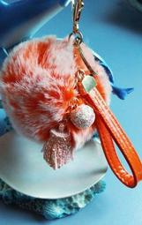 市面少有~亮粉流蘇粉桔雪霜毛球皮繩吊飾鑰匙圈