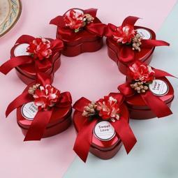 結婚慶用品盒子 馬口鐵喜糖盒子 個性糖果包裝盒創意心形婚禮鐵盒