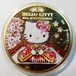 紐埃kitty鍍金幣,金幣,紀念幣,紀念章,收藏錢幣,錢幣,幣~紐埃kitty鍍金幣(純銅鍍金背面為伊莉莎白女王頭像)