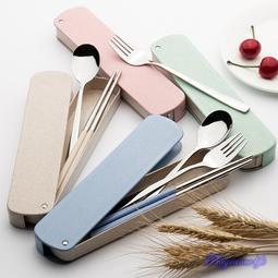 健康環保新款側拉式不銹鋼隨身餐具組 環保餐具 不銹鋼餐具 三件式