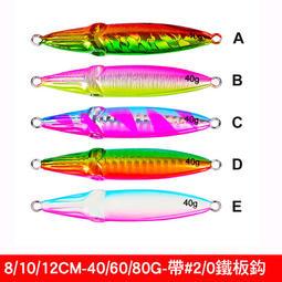 【路亞工坊 】岸拋鐵板 船釣路亞 鐵板路亞 雷射鉛魚(帶鐵板鈎) 12cm/80g