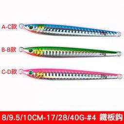 【路亞工坊 】岸拋鐵板 鐵板路亞 雷射鉛魚(帶鐵板鈎) 10.5cm/40g