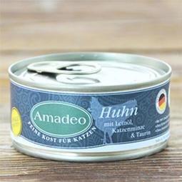 >幸福貓棧<阿瑪德 Amadeo 貓咪全肉主食罐-放牧雞 搭配貓薄荷 100克 德國原裝進口 主食罐