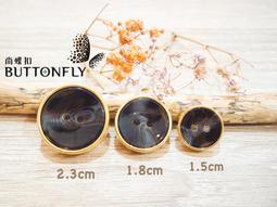 【尚蝶扣】二孔羽毛黑+5色邊框外套鈕釦(15mm)