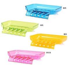 炫彩吸盤排水肥皂盒/香皂盒 糖果色吸盤瀝水多用收納盒/香皂盒