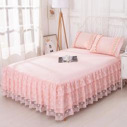 床罩組正韓公主150x200公分床罩床裙式單件蕾絲花邊床單保護套180公分200公分220公分床套夏天保潔墊-街頭韓風