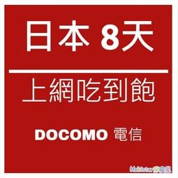 日本上網卡 8天 上網卡 日本 網卡 SIM卡 無限上網 DOCOMO 日本網卡 吃到飽