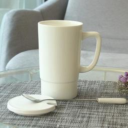馬克杯 杯子陶瓷大容量馬克杯帶蓋勺簡約辦公 紫羅蘭