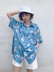 【黑店】原創設計 支解娃娃印花短袖襯衫 春季新款藍色個性短袖襯衫 不撞衫設計款短袖襯衫SG167