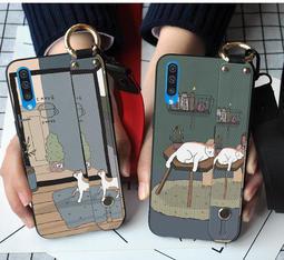 三星 Galaxy A20 A30 A50 A70 A80 創意手腕带支架系列 貪睡貓咪與行走貓咪 全包軟殼手機殼