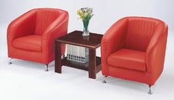 【上丞辦公家具】台中免運 小甜甜洽談沙發  單人沙發 皮沙發 休閒沙發 紅沙發 小茶几 木茶几168-5
